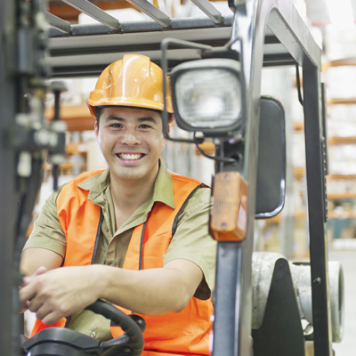 Individual in Forklift